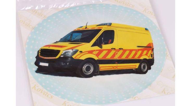 Sárga mentőautó tortaostya - Süss Velem.com