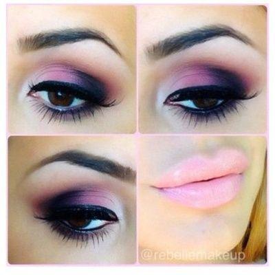 pink smokey eye shadow- nude pink lips