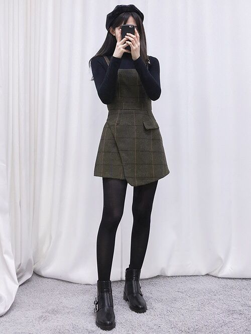 Korean fashion - black turtleneck, army green overall dress, stockings and black ankle boots
