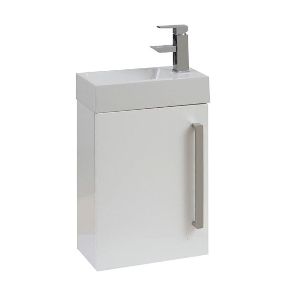 Frontline Aquatrend Gloss White Wall Hung Cloakroom Vanity Unit - Cloakroom Vanity Units - Vanity Units - Bathroom Furniture