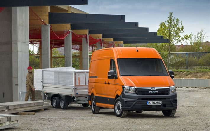 Download wallpapers MAN TGE, 2018, van, cargo minibus, cargo transportation, orange TGE, delivery concepts, MAN