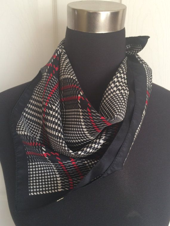 Houndstooth Black and Red Square Scarf Dog Tooth Neckerchief
