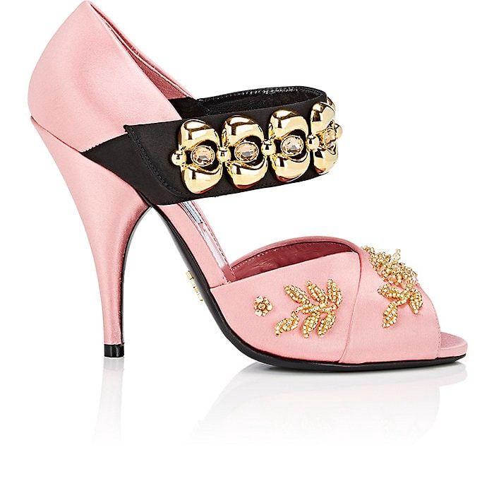 PRADA Embellished Satin Mary Jane Pumps. #prada #shoes #