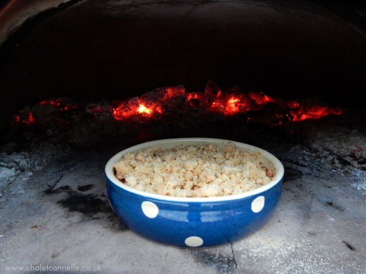 Home grown Rhubard & Lime crumble goes in the wood fired oven at Chalet Cannelle, Chatel, France
