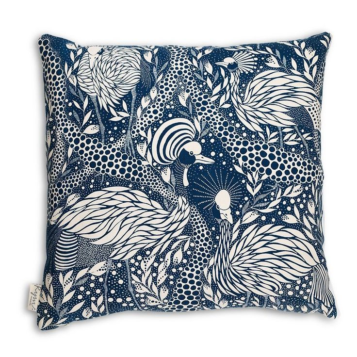 Cushion cover Prancing Peacock via Emma von Brömssen . Click on the image to see more!
