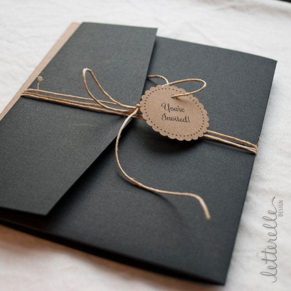 Black & Kraft Lace Cut Wedding Invitation, 5X7 with Pocket