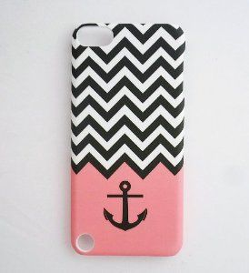 Pink Black White Chevron Zigzag with Anchor Waves Design ipod cover