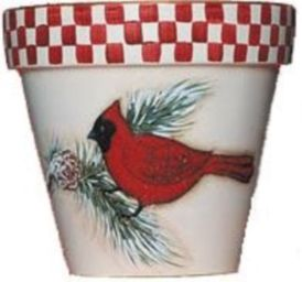 Cardinal - This special pot is adorned with a beautiful cardinal. The pot color is only available in red to match the cardinal. AS FEATURED IN COUNTRY WOMAN MAGAZINE