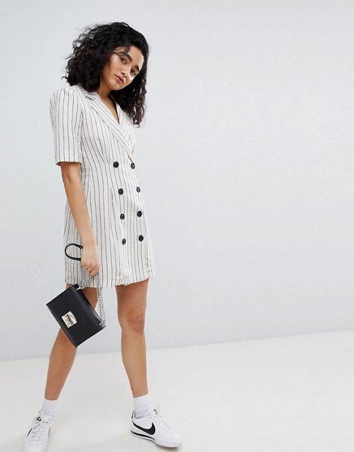 5d523b836551d Bershka stripe blazer dress in cream | Things to wear | Blazer dress ...