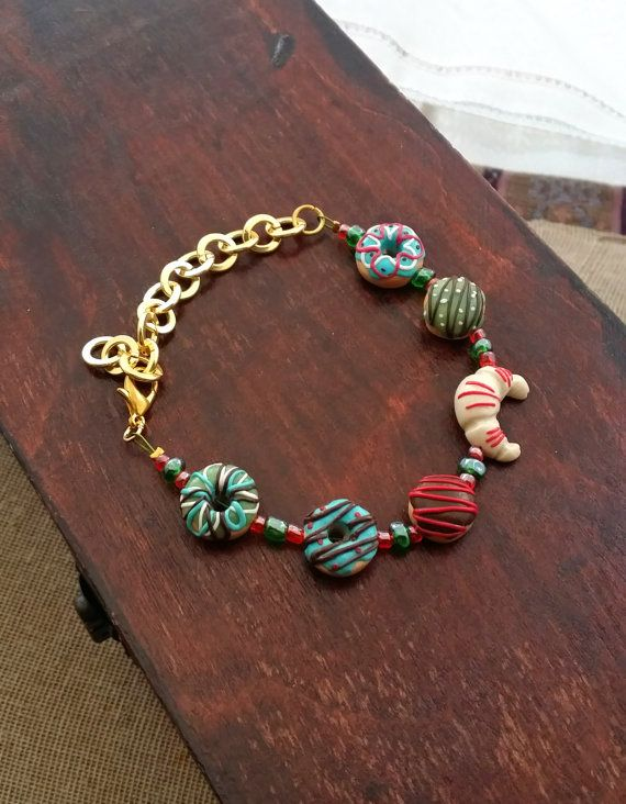 Christmas Bracelet From Polymer Clay  by EvasCreationsShop on Etsy