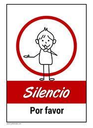 Descarga este cartel de Silencio, por favor ideal para salas de espera, hospitales, clínicas, bibliotecas, lugar de trabajo, etc...