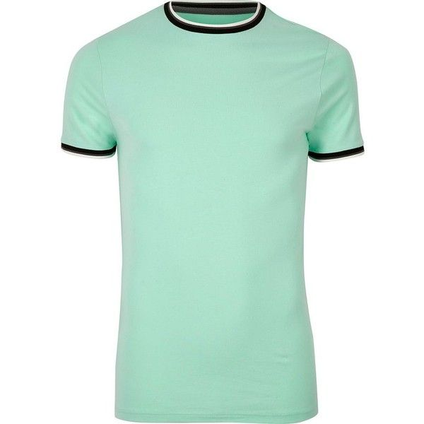 River Island Mint green muscle fit ringer T-shirt (21 BRL) ❤ liked on Polyvore featuring men's fashion, men's clothing, men's shirts, men's t-shirts, green, sale, mint green mens shirt, mens crew neck shirts, river island mens shirts and mens tall t shirts