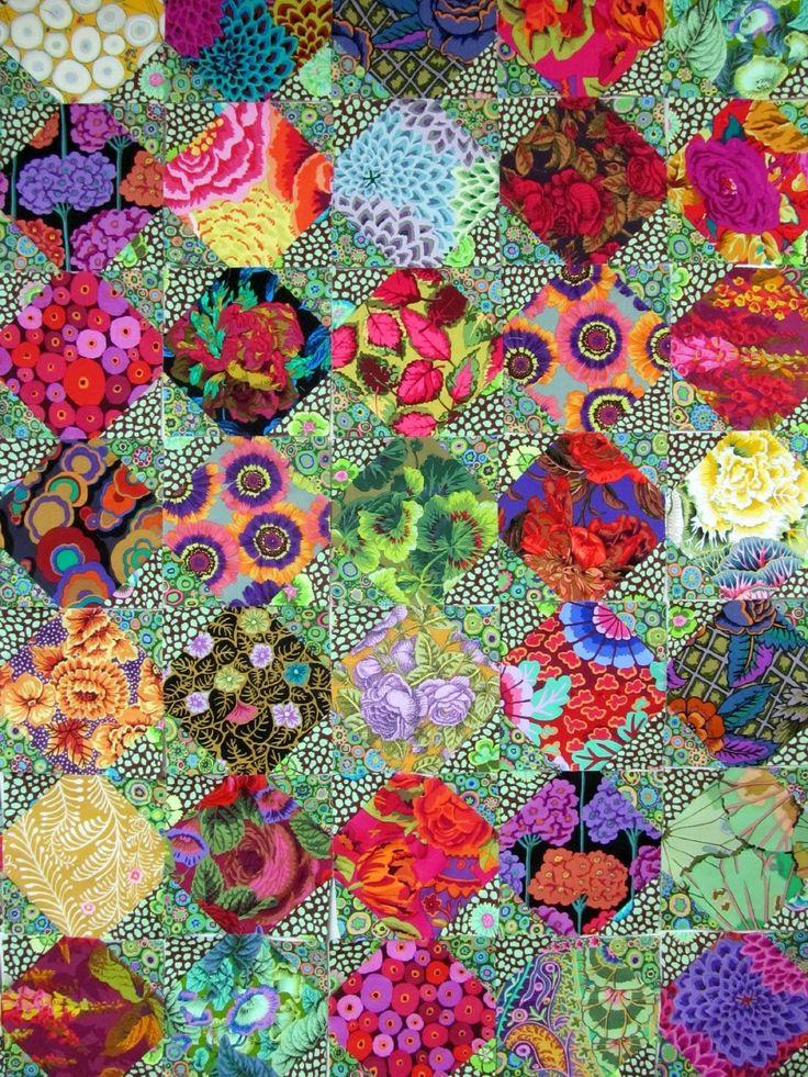 Snowball quilt in Kaffe Fassett fabrics by Wanda Hanson | Exuberant Color