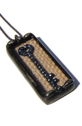 Crystal Key Shadow Box Necklace