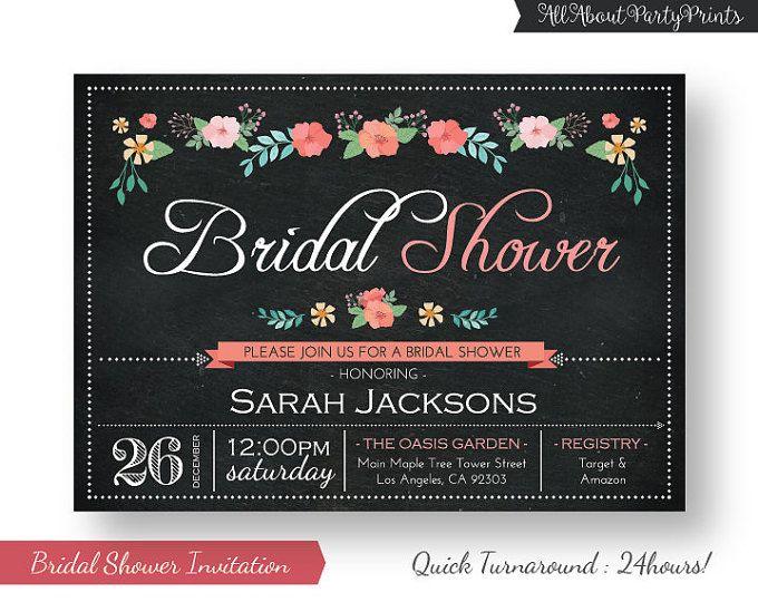 Flor de pizarra nupcial ducha invitación-despedida de soltera invitación-PDF formato digital archivo