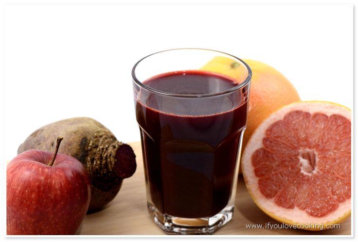 Suc de sfecla rosie, mere & grapefruits Acest Juice placut la gust, usor dulceag, este un bun detoxifiant. Este benefic in prevenirea si tratarea cancerului. Deasemeni prin reglarea secretiilo…