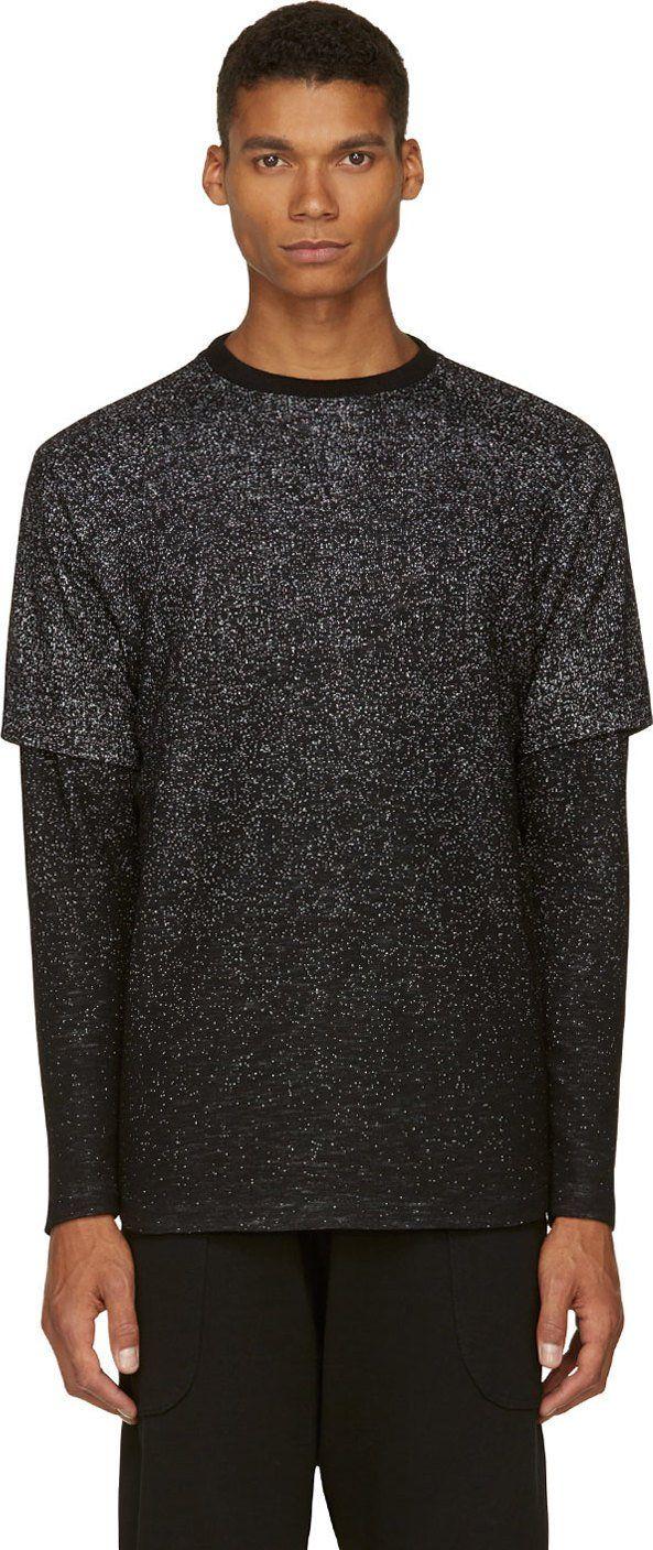 Public School: Black Speckled Layered Sweater | SSENSE