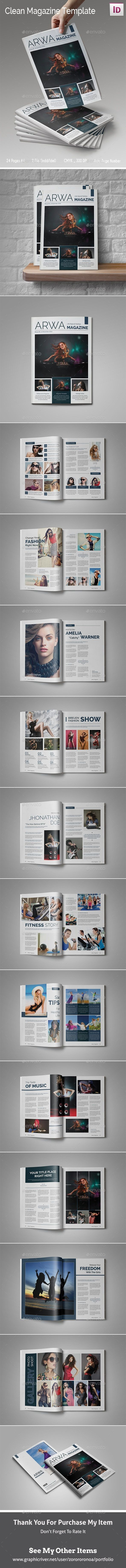 Clean Magazine Template — InDesign INDD #simple #trendy • Download ➝ https://graphicriver.net/item/clean-magazine-template/18807792?ref=pxcr