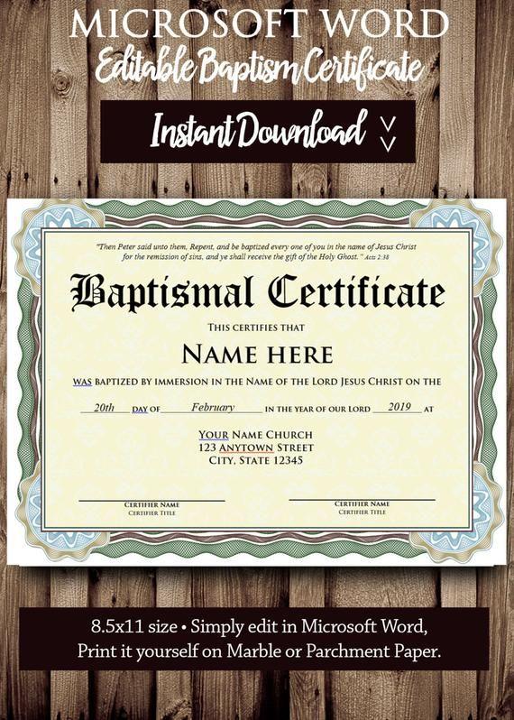 Baptism Certificate Template Microsoft Word Editable File Etsy Certificate Templates Printable Certificates Names Of Jesus