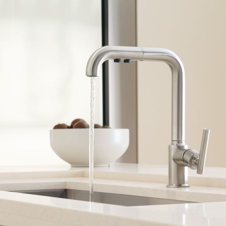 The KOHLER Purist Primary Pull-Out Kitchen Faucet is a luxurious faucet with a fluid design. While it has the look of a standard kitchen faucet, surprise! it has a pull-out sprayer for added flexibility.