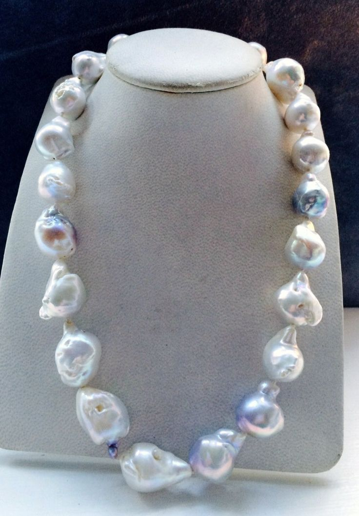 Baroque pearl necklace with white gold clasp by kochiokada on Etsy