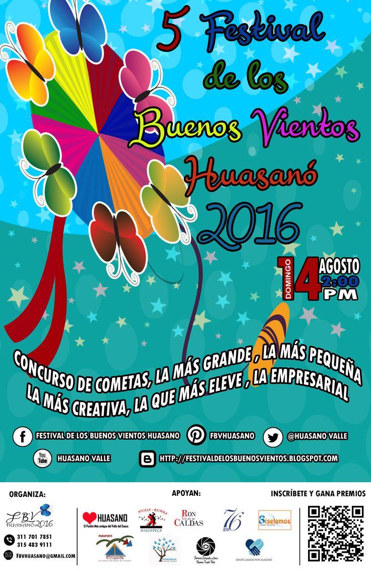Presentamos el afiche Oficial del Festival de los Buenos Vientos 2016 corregimiento de Huasano Municipio de Trujillo