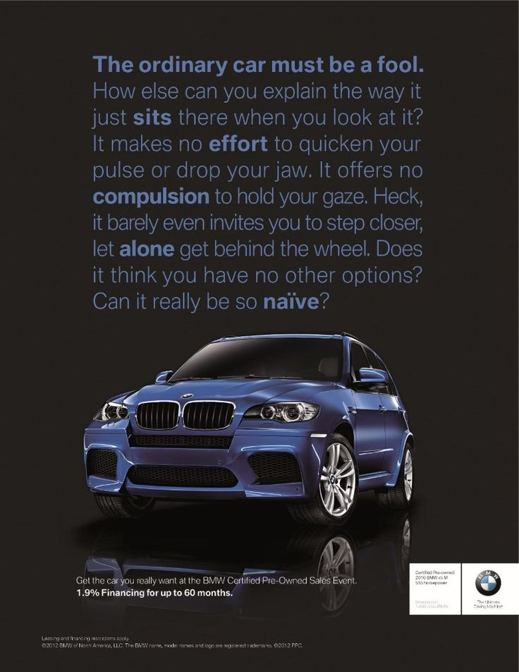 bmw advertisement analysis Ways of seeing online: an analysis of john berger's ideas in the digital age  john berger  all of these advertisements either attempt to plant subconscious  thoughts, or to tap into them in some of the  bmw advertisement.