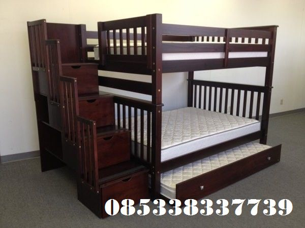 Ranjang Susun Kayu Jati 3 Bed produck dari set kamar Produck terbaru terlaris Harga Murah Berkualitas mewah 100 % Bergaransi