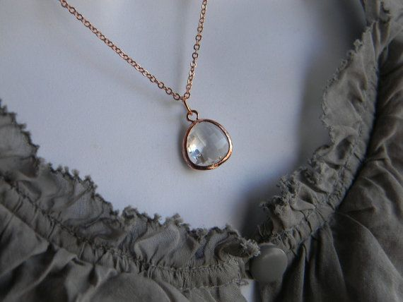Rose Gold NecklaceClear GlassBridesmaid by Greenperidot on Etsy, $19.50