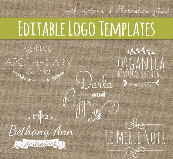 Premade Logo Design Modelli Set 7 / / PSD & di thePENandBRUSH