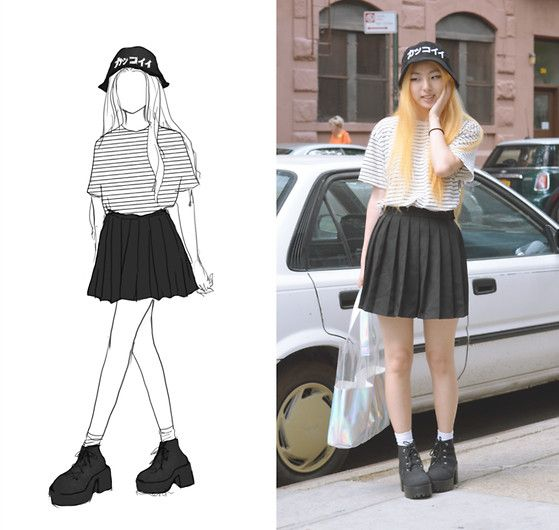 H&M カッコイイ Cool Bucket Hat, American Apparel Striped Jersey Shirt, Ebay School Knife Pleated Skirt, Ebay Holographic Tote Bag, H&M Platform Lace Up Chunky Boots