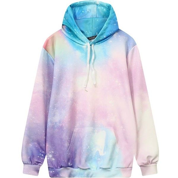 Pastel Galaxy Hoodie KOKORO ($23) ❤ liked on Polyvore featuring tops, hoodies, shirts, sweaters, pink top, shirt hoodie, pastel shirts, nebula hoodie and pink hoodies