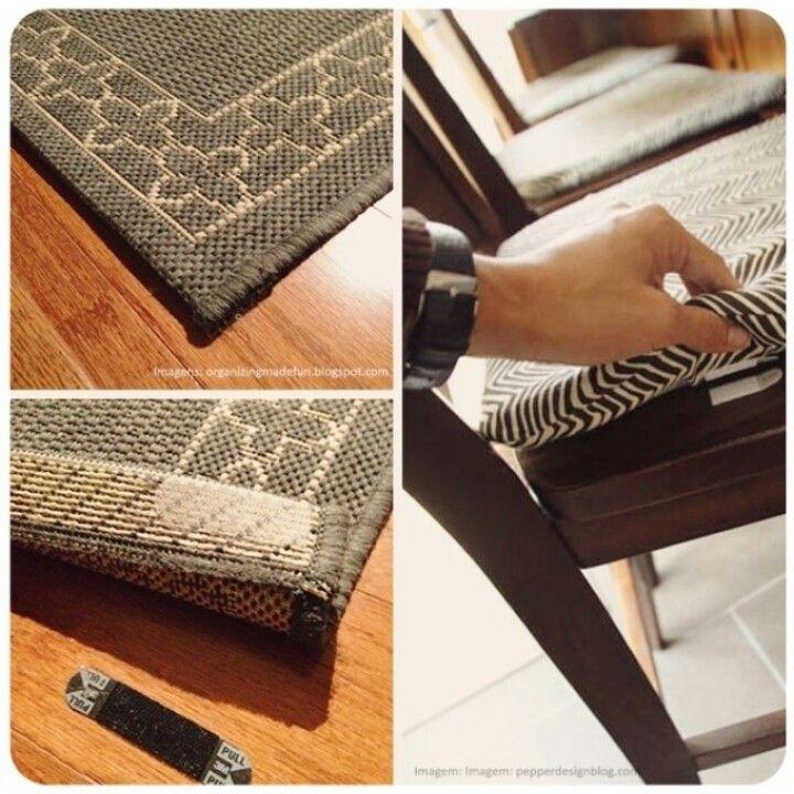 Aquele trequinho para pendurar quadros também podem ajudar a fixar o tapete no chão e a almofada na cadeira.