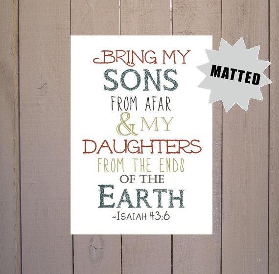 Isaiah 436 Adoption / Gotcha Day Scripture by PoppyseedPrints. , via Etsy.