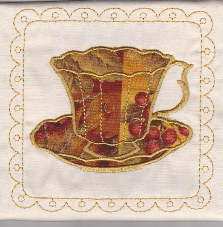 Teacups fabric applique quilt block square
