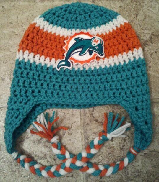 Crochet Patterns Nfl Teams : Crochet Miami Dolphins NFL Team Spirit Beanie by kimerin13 on Etsy ...