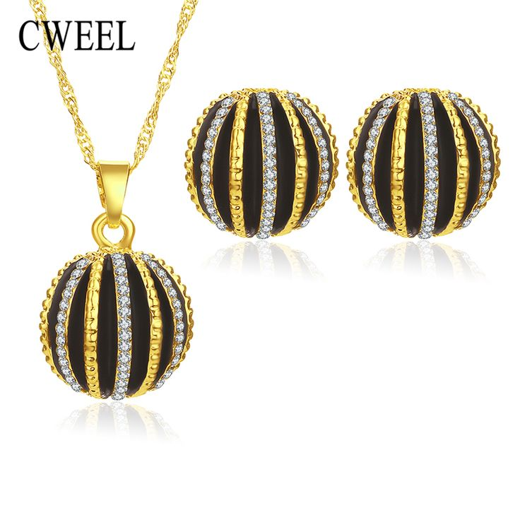 CWEEL Jewelry Sets For Women African Beads Gold Plated Bridal Imitation Crystal Pendants Necklace Earrings Wedding Accessories