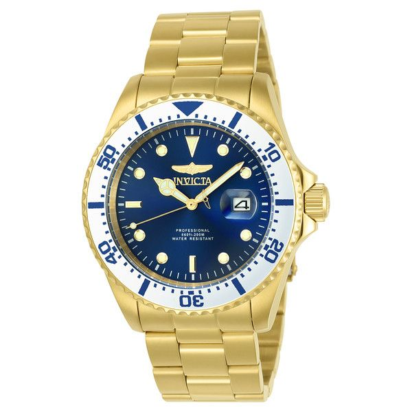 Men's Invicta Pro Diver 43mm Watch ($50) ❤ liked on Polyvore featuring men's fashion, men's jewelry, men's watches, blue, jewelry & watches, stainless steel mens watches, mens blue watches, mens watches jewelry and invicta mens watches