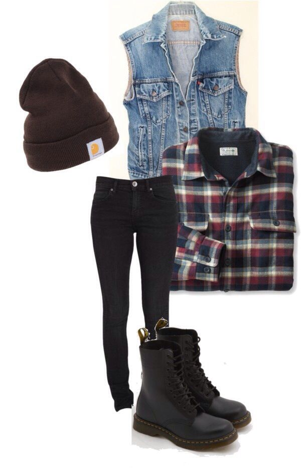 Punk / rock / style / outfit // take out beanie and plaid shirt and put in a metal band tee it's good for me