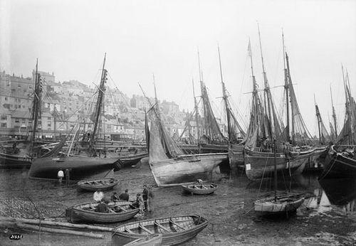 Inner harbour, Brixham, Devon circa 1889