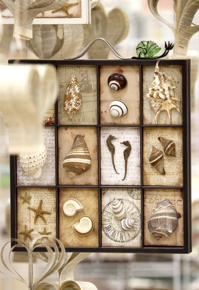 Beach Shadow Box.. love the different background in each square