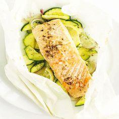 Salmone e zucchine al forno, al profumo di limone