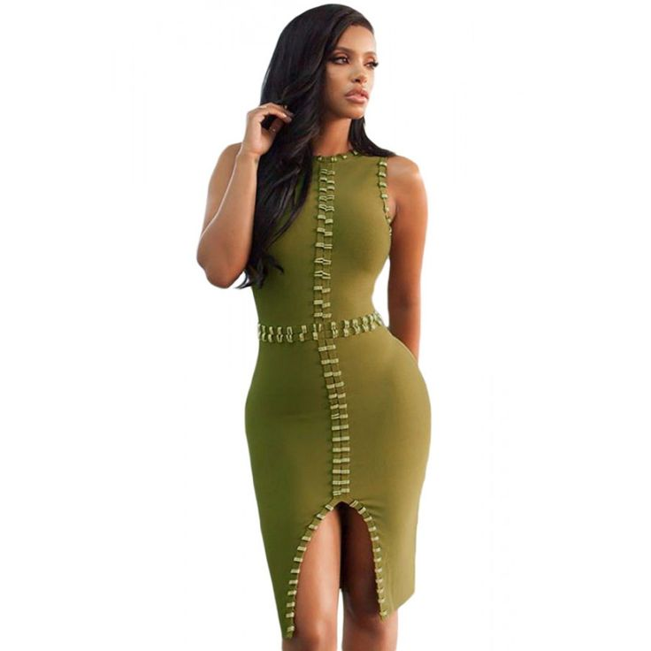 Gold Metal Embellished Detail Olive Sexy Birthday Dress
