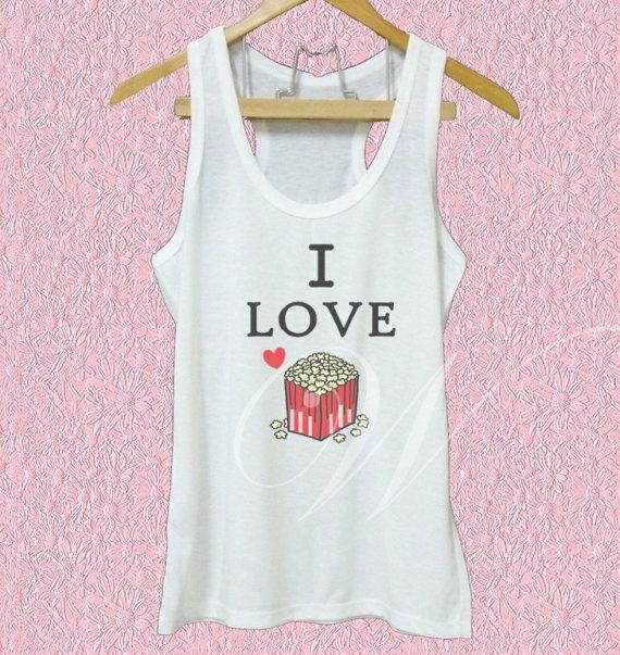 I love popcorn shirt snack quotes white tank/grey by WorkoutShirts