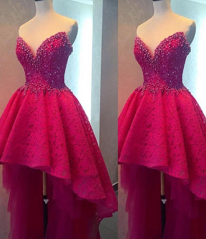 Beading High-Low A-line Lace Prom Dresses 2017