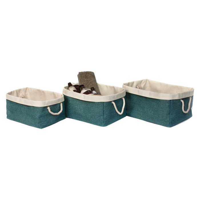 3 piece storage bin set in turquoise beach pinterest for Turquoise bathroom bin
