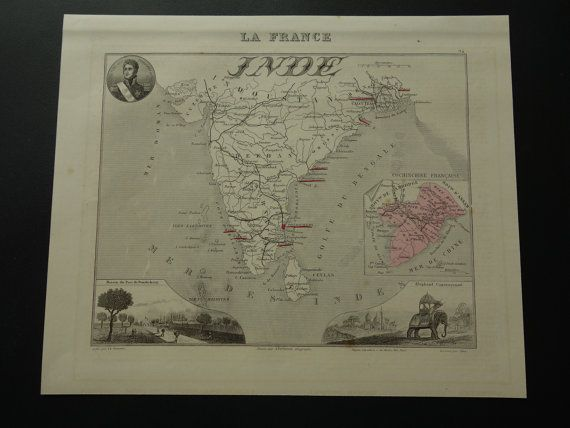 INDOCHINA old map of French India and Indochine  by VintageOldMaps
