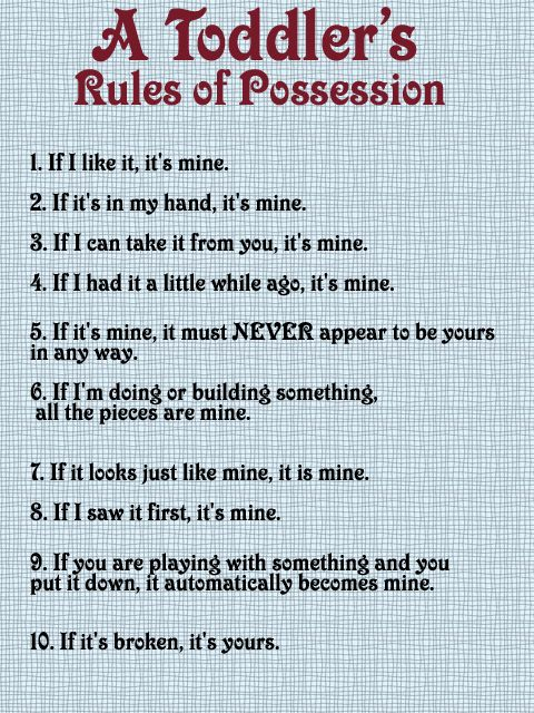 "LOL! ""A Toddler's Rules of Possession!"""