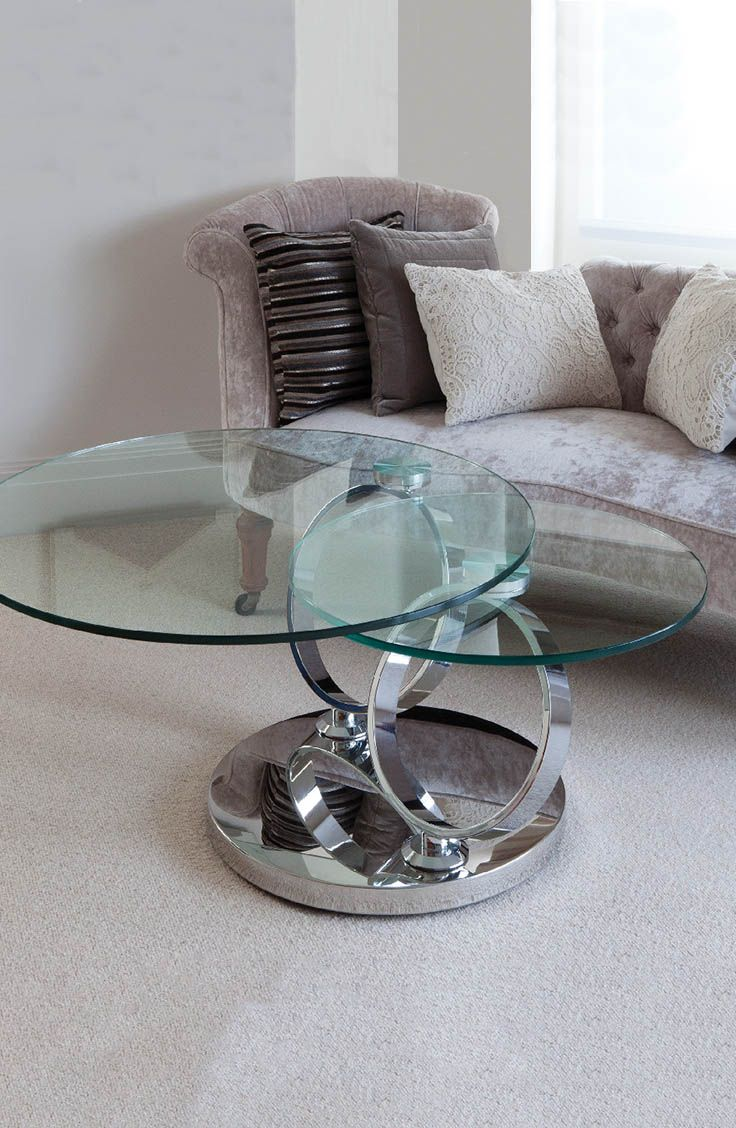 This Elegant Contemporary Glass Coffee Table By Greenapple Has Two Rotating  Glass Tops On A Stainless Steel Base Making For A Unique, Attractive And ...