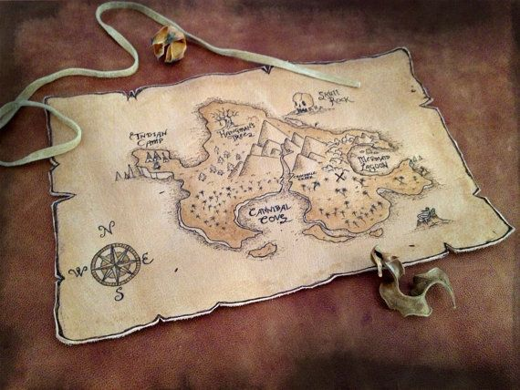 Treasure Pirate Map on Leather 6'' x 9''........The Treasure map was burned on a leather piece. Then hhe leather was painted with special color that makes it looks like old paryrus. You can change the size of the map if you want to. Dimensions: 150mm x 220mm.
